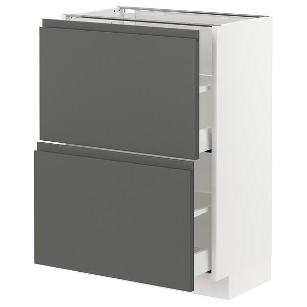 METOD / MAXIMERA Base cabinet with 2 drawers, white/Voxtorp dark grey, 60x37 cm