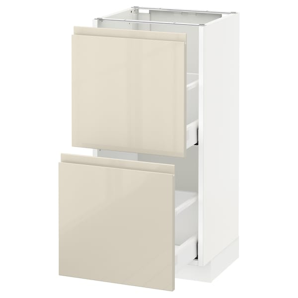 METOD / MAXIMERA Base cabinet with 2 drawers, white/Voxtorp high-gloss light beige, 40x37 cm