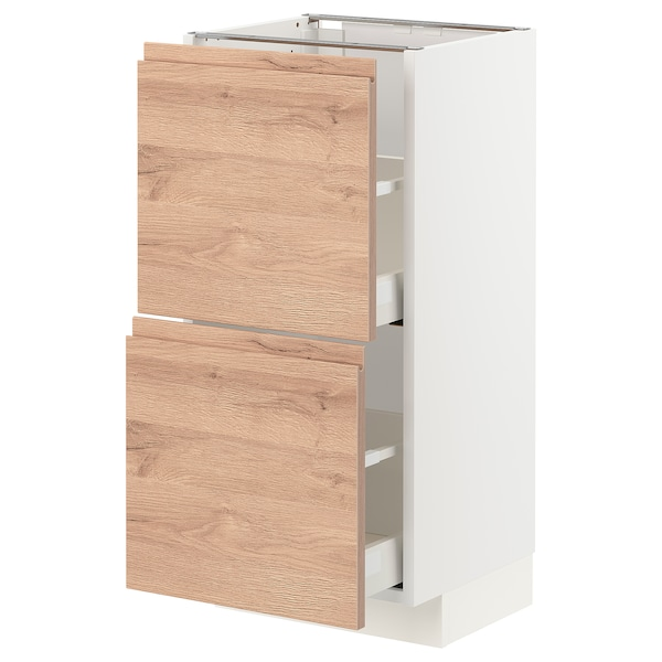 METOD / MAXIMERA Base cabinet with 2 drawers, white/Voxtorp oak effect, 40x37 cm