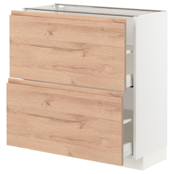 METOD / MAXIMERA Base cabinet with 2 drawers, white/Voxtorp oak effect, 80x37 cm