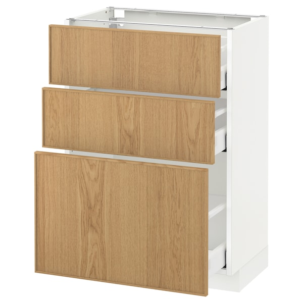 METOD / MAXIMERA Base cabinet with 3 drawers, white/Ekestad oak, 60x37 cm