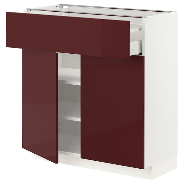 METOD / MAXIMERA base cabinet with drawer/2 doors white Kallarp/high-gloss dark red-brown 80.0 cm 37 cm 80.0 cm