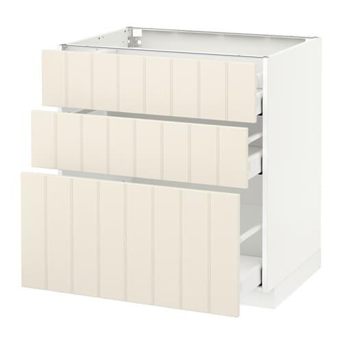 Metod Maximera Base Cabinet With 3 Drawers White Hittarp Off White