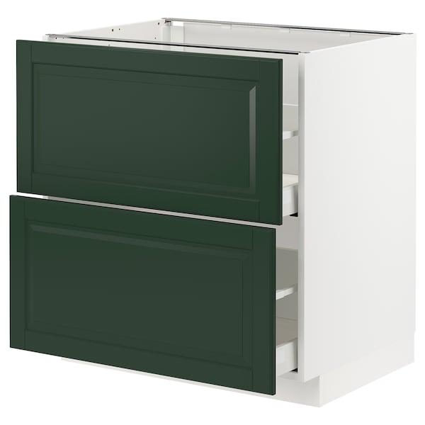 METOD / MAXIMERA Base cb 2 fronts/2 high drawers, white/Bodbyn dark green, 80x60 cm
