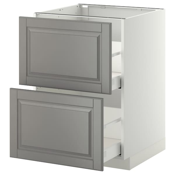 METOD / MAXIMERA Base cb 2 fronts/2 high drawers, white/Bodbyn grey, 60x60 cm