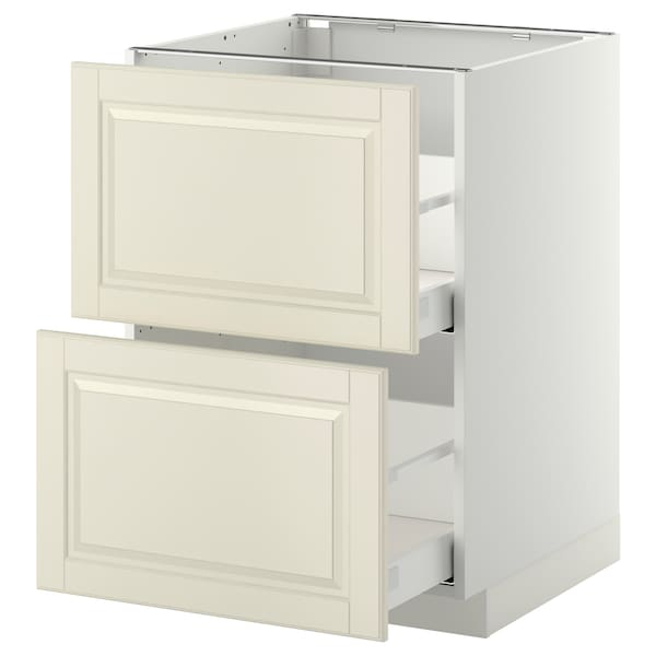METOD / MAXIMERA Base cb 2 fronts/2 high drawers, white/Bodbyn off-white, 60x60 cm