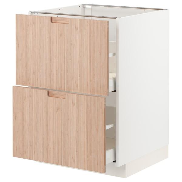 METOD / MAXIMERA Base cb 2 fronts/2 high drawers, white/Fröjered light bamboo, 60x60 cm