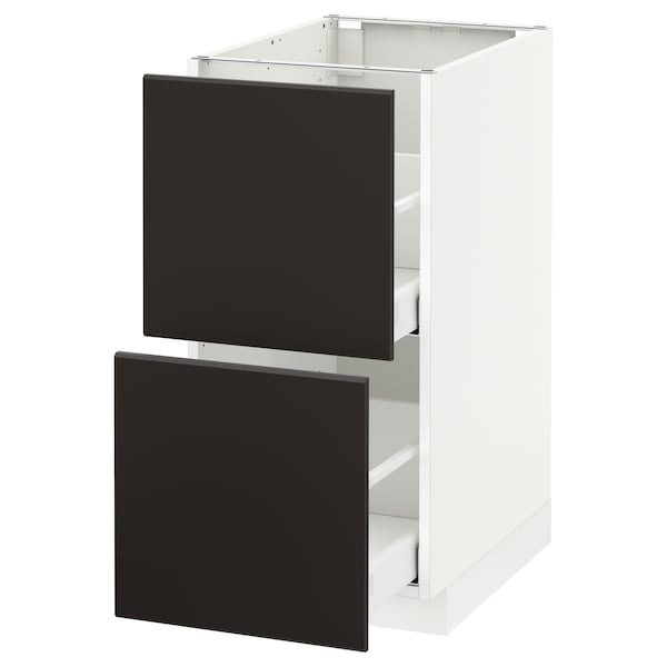 METOD / MAXIMERA Base cb 2 fronts/2 high drawers, white/Kungsbacka anthracite, 40x60 cm
