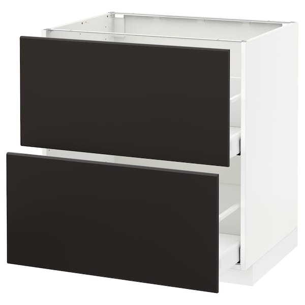 METOD / MAXIMERA Base cb 2 fronts/2 high drawers, white/Kungsbacka anthracite, 80x60 cm