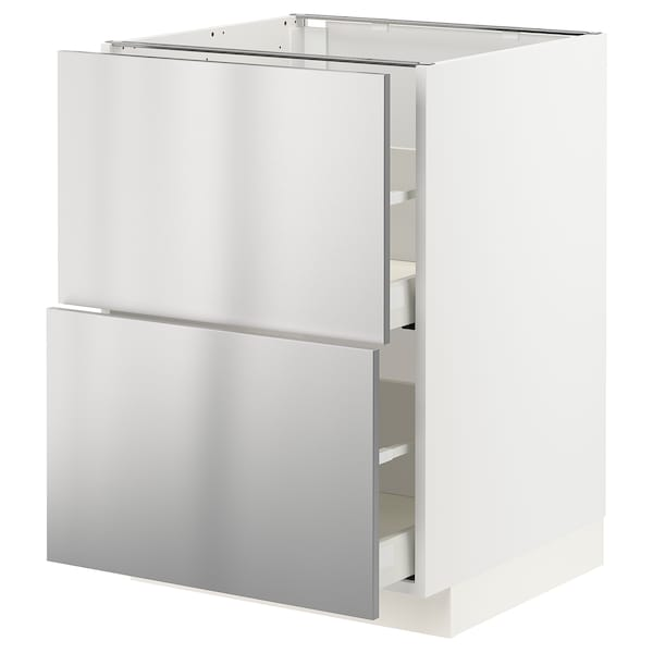 METOD / MAXIMERA Base cb 2 fronts/2 high drawers, white/Vårsta stainless steel, 60x60 cm