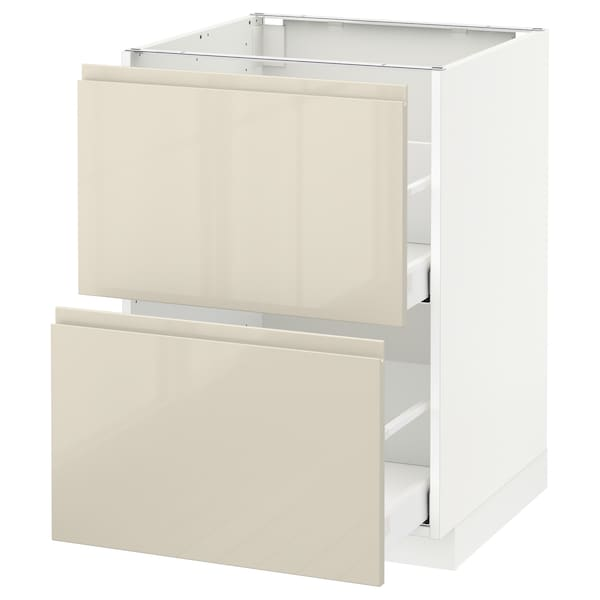 METOD / MAXIMERA Base cb 2 fronts/2 high drawers, white/Voxtorp high-gloss light beige, 60x60 cm