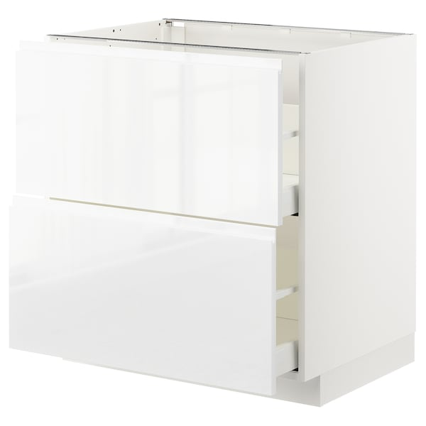METOD / MAXIMERA Base cb 2 fronts/2 high drawers, white/Voxtorp high-gloss/white, 80x60 cm