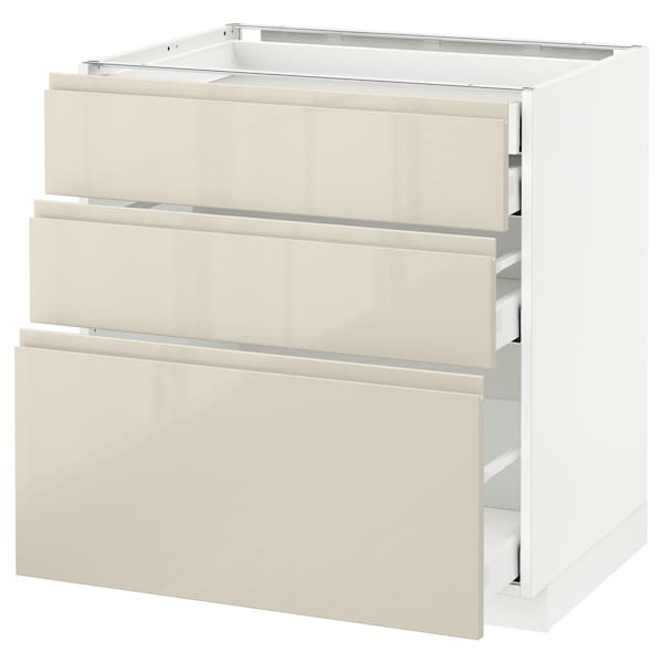 METOD / MAXIMERA Base cb 3 frnts/2 low/1 md/1 hi drw, white/Voxtorp high-gloss light beige, 80x60 cm
