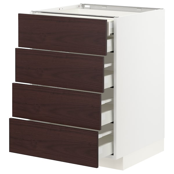 METOD / MAXIMERA Base cb 4 frnts/2 low/3 md drwrs, white Askersund/dark brown ash effect, 60x60 cm
