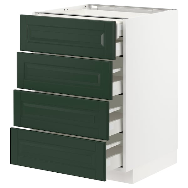 METOD / MAXIMERA Base cb 4 frnts/2 low/3 md drwrs, white/Bodbyn dark green, 60x60 cm