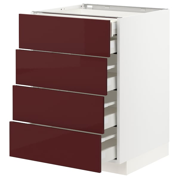 METOD / MAXIMERA Base cb 4 frnts/2 low/3 md drwrs, white Kallarp/high-gloss dark red-brown, 60x60 cm