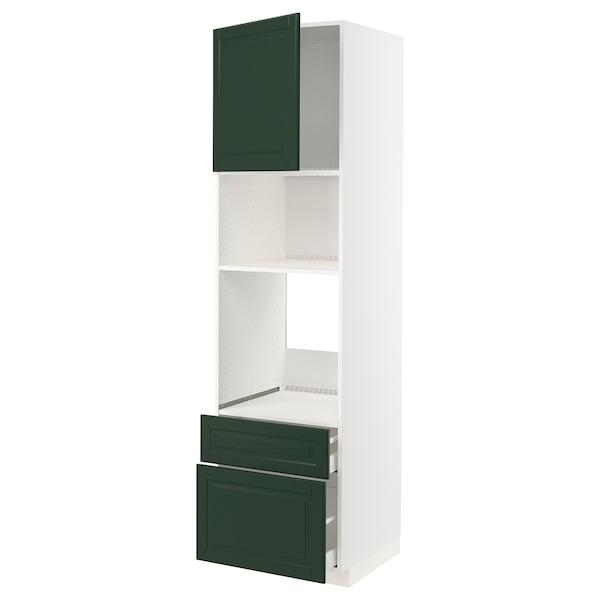 METOD / MAXIMERA High cab f oven/micro w dr/2 drwrs, white/Bodbyn dark green, 60x60x220 cm