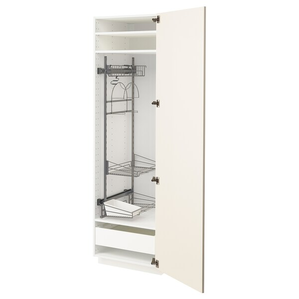 METOD / MAXIMERA High cabinet with cleaning interior, white/Hittarp off-white, 60x60x200 cm