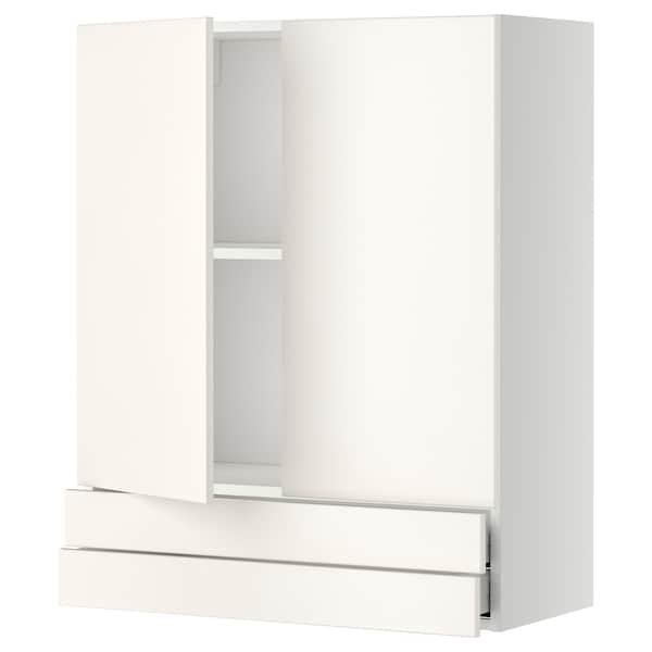 METOD / MAXIMERA Wall cabinet w 2 doors/2 drawers, white/Veddinge white, 80x100 cm