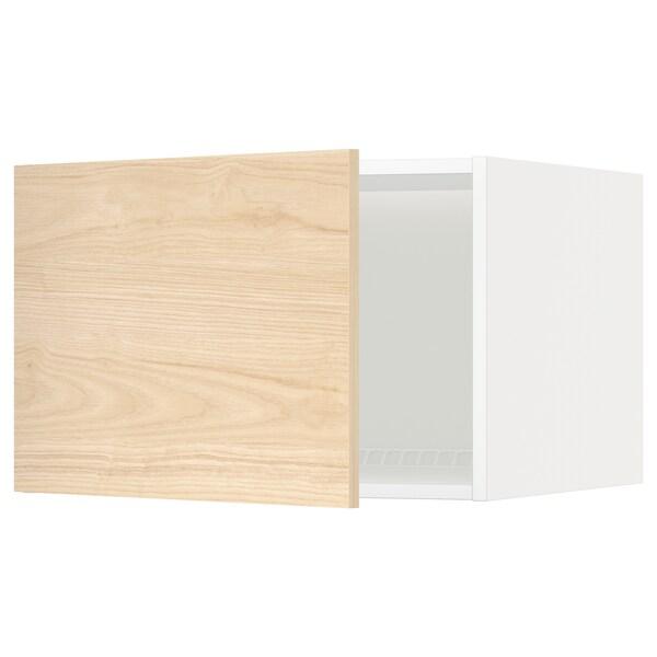 METOD Top cabinet for fridge/freezer, white/Askersund light ash effect, 60x40 cm