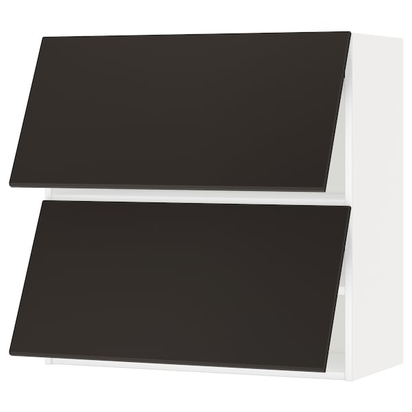 METOD Wall cab horizo 2 doors w push-open, white/Kungsbacka anthracite, 80x80 cm