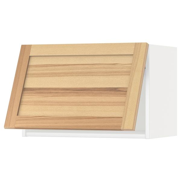 METOD Wall cabinet horizontal, white/Torhamn ash, 60x40 cm
