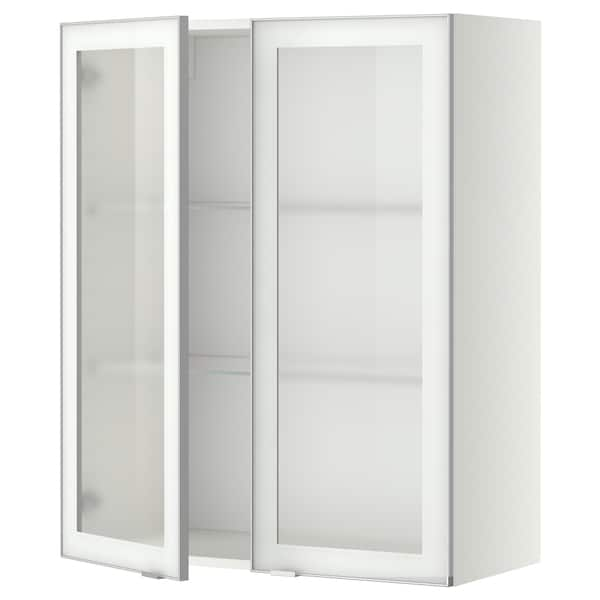 METOD Wall cabinet w shelves/2 glass drs, white/Jutis frosted glass, 80x100 cm