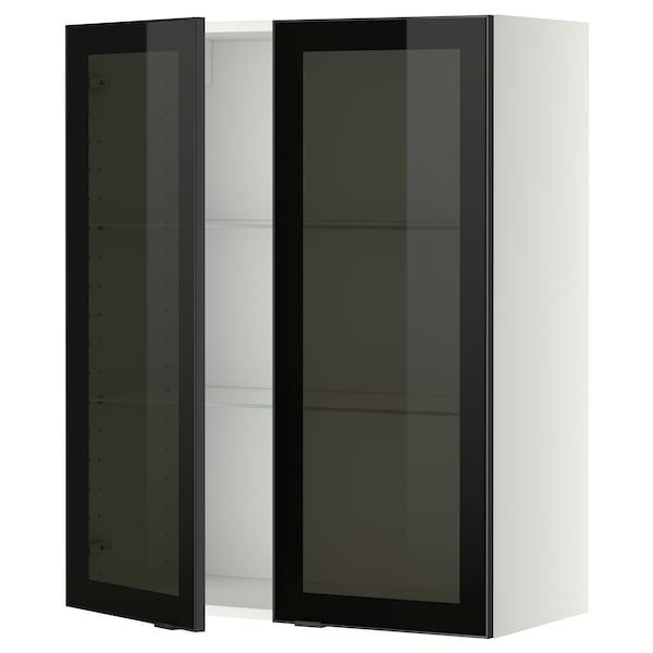 METOD Wall cabinet w shelves/2 glass drs, white/Jutis smoked glass, 80x100 cm