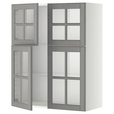METOD wall cabinet w shelves/4 glass drs white/Bodbyn grey 80.0 cm 38.9 cm 100.0 cm