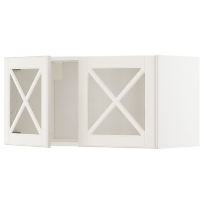 METOD wall cabinet with 2 glass doors white/Bodbyn off-white 80.0 cm 38.9 cm 40.0 cm