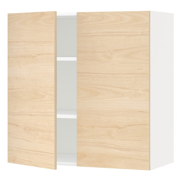METOD Wall cabinet with shelves/2 doors, white/Askersund light ash effect, 80x80 cm