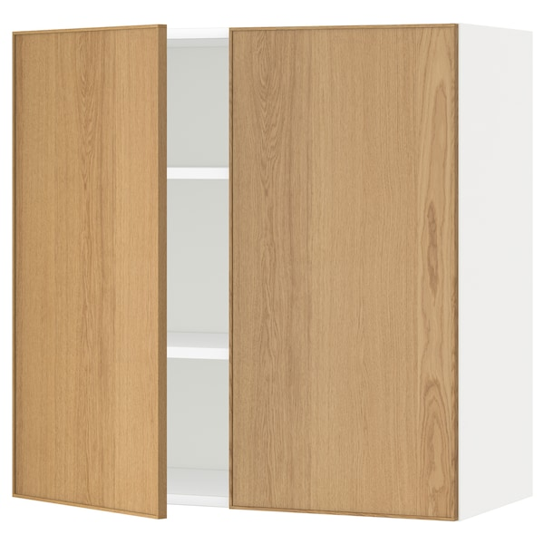 METOD Wall cabinet with shelves/2 doors, white/Ekestad oak, 80x80 cm