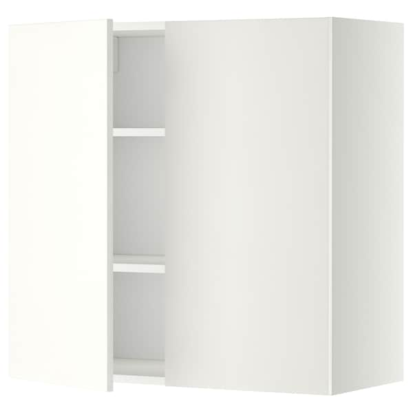 METOD Wall cabinet with shelves/2 doors, white/Häggeby white, 80x80 cm
