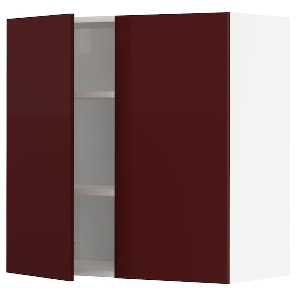 METOD Wall cabinet with shelves/2 doors, white Kallarp/high-gloss dark red-brown, 80x80 cm