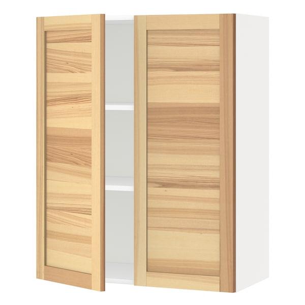 METOD Wall cabinet with shelves/2 doors, white/Torhamn ash, 80x100 cm