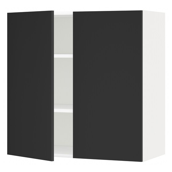 METOD Wall cabinet with shelves/2 doors, white/Uddevalla anthracite, 80x80 cm