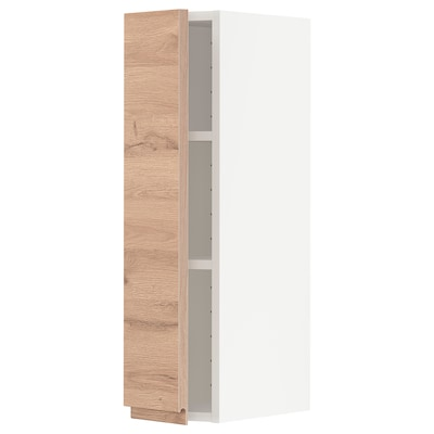 METOD Wall cabinet with shelves, white/Voxtorp oak effect, 20x80 cm