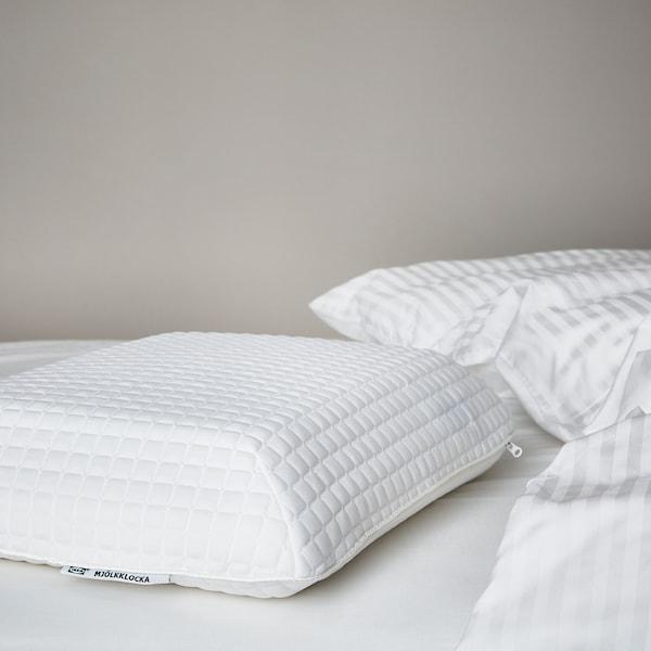 MJÖLKKLOCKA Ergonomic pillow, side/back sleeper, 41x51 cm