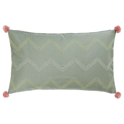 MOAKAJSA cushion cover handmade green/pink 65 cm 40 cm