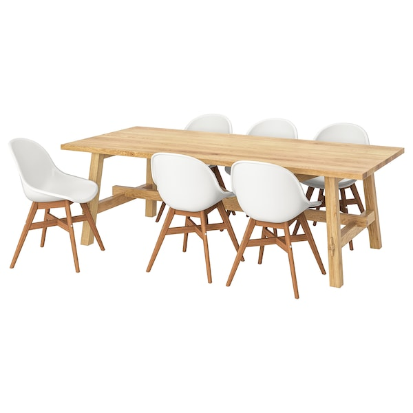 MÖCKELBY / FANBYN Table and 6 chairs, oak/white, 235x100 cm
