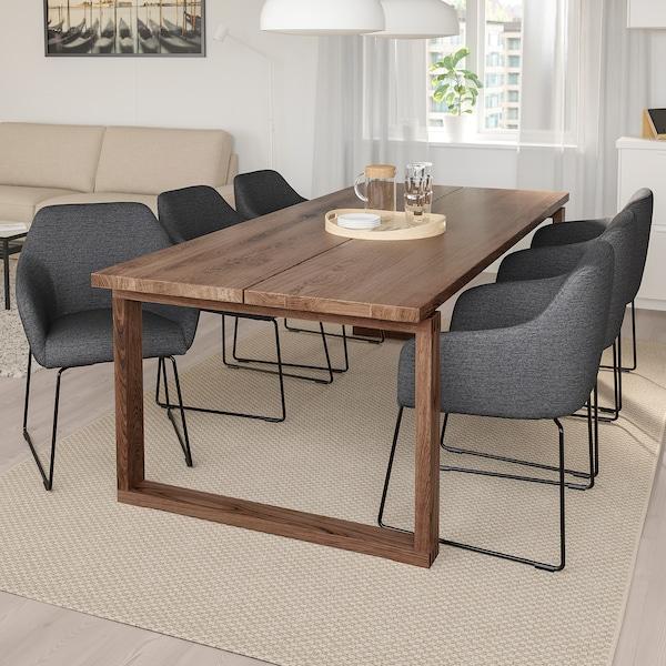 MÖRBYLÅNGA / TOSSBERG Table and 6 armchairs, oak veneer brown stained/metal grey, 220x100 cm