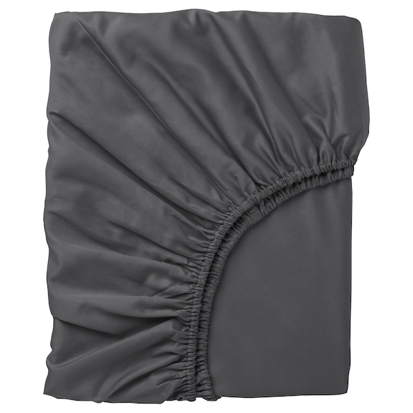 NATTJASMIN Fitted sheet, dark grey, 140x200 cm