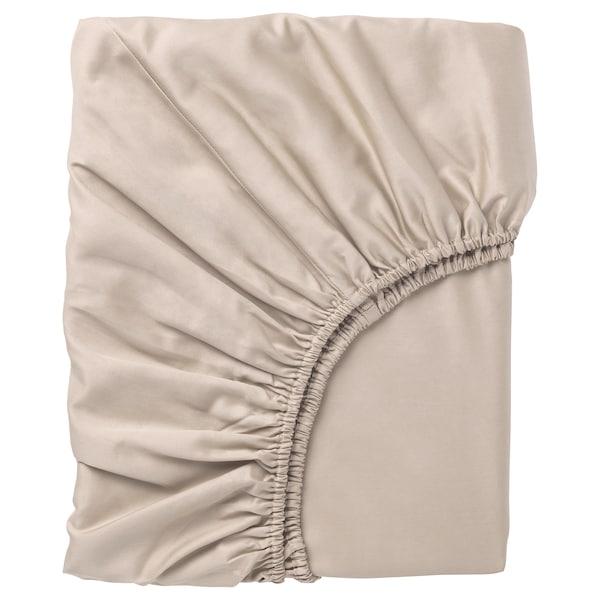 NATTJASMIN Fitted sheet, light beige, 90x200 cm