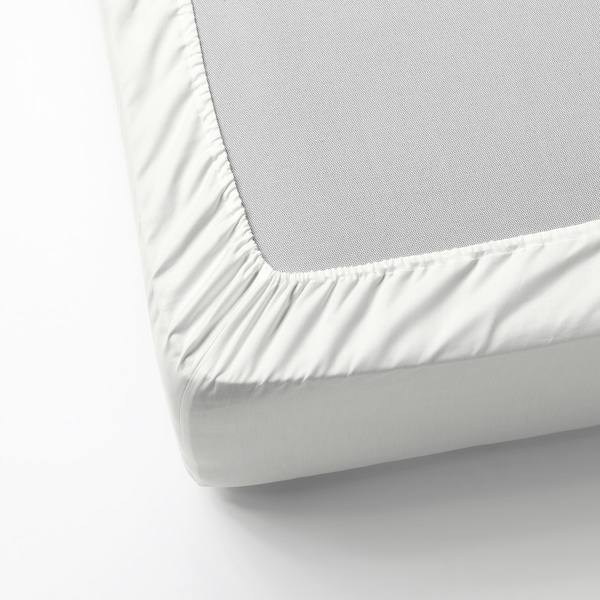 NATTJASMIN Fitted sheet, white, 140x200 cm