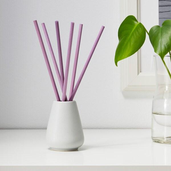 NJUTNING Vase and 6 scented sticks, Lavender bliss/lilac