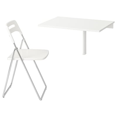 NORBERG / NISSE Table and 1 chair, white/chrome-plated white, 74 cm