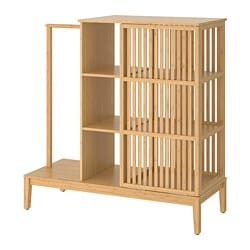 NORDKISA open wardrobe with sliding door, bamboo