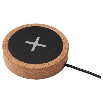 NORDMÄRKE Wireless charger, black/cork