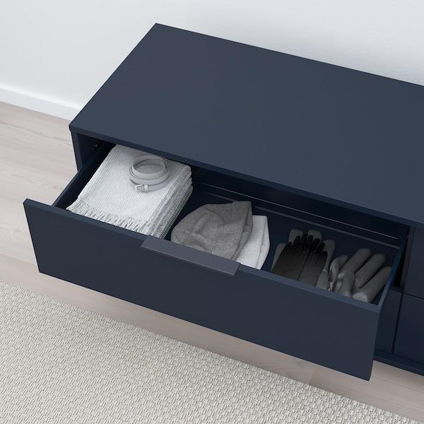 NORDMELA Chest of 4 drawers, black-blue, 159x50 cm