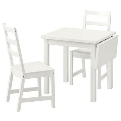 NORDVIKEN Table and 2 chairs, white/white, 74/104x74 cm